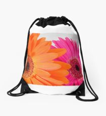 Orange and Pink Gerbera Flowers Drawstring Bag