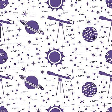 Seamless pattern. Telescope, sun, planets, stars. by aquamarine-p