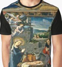 The Nativity with Angels | Vintage Christmas Gifts Graphic T-Shirt