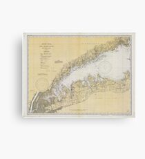 Vintage Map of The Long Island Sound (1934) Canvas Print