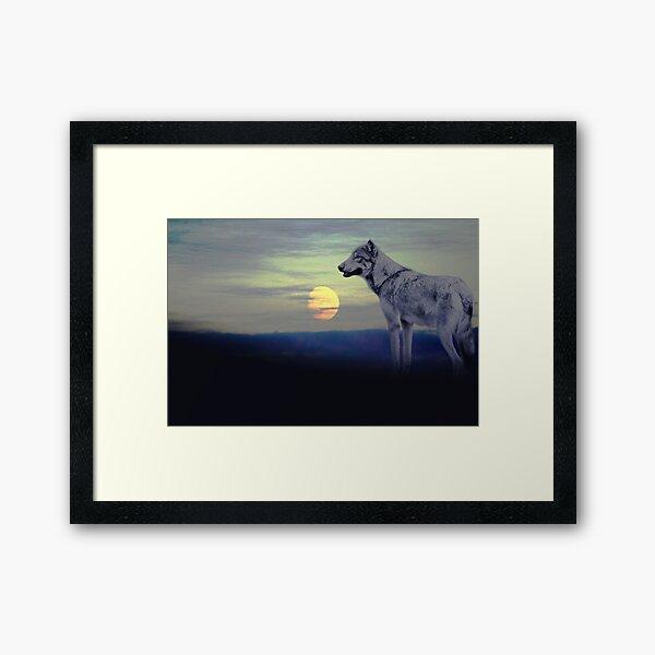 Wolf moon Framed Art Print
