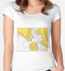 Vintage Map of San Francisco CA (1970) Women's Fitted Scoop T-Shirt