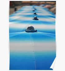 Row of Blue Beach Umbrellas  Poster