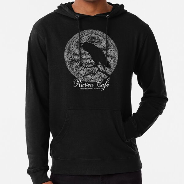 The Raven Moon Poem by Edgar Allan Poe - RAVEN CAFE Lightweight Hoodie