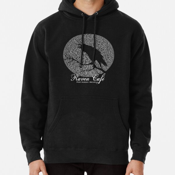 The Raven Moon Poem by Edgar Allan Poe - RAVEN CAFE Pullover Hoodie
