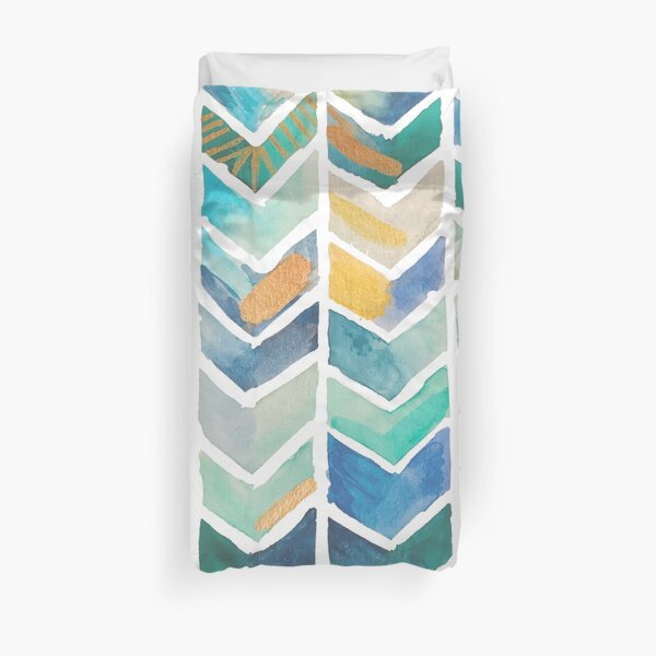 Freehand Watercolor Chevron Pattern Duvet Cover