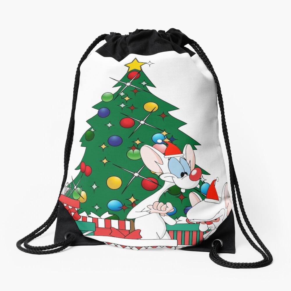 Pinky And The Brain Around The Christmas Tree Drawstring Bag