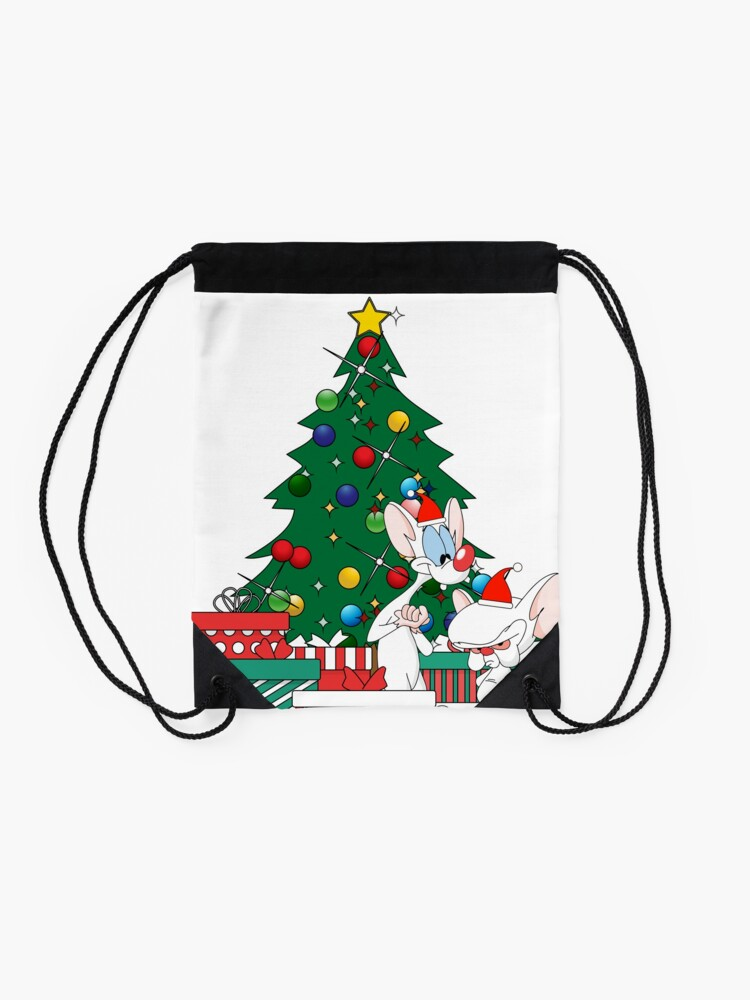 Alternate view of Pinky And The Brain Around The Christmas Tree Drawstring Bag