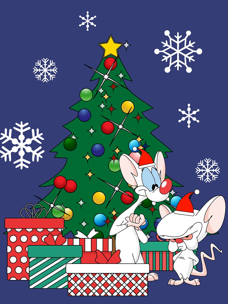 Pinky And The Brain Christmas.Pinky And The Brain Around The Christmas Tree Slim Fit T Shirt