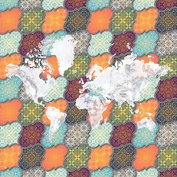 Boho Bohemian Ethnic World Map Vivid Color Art by Map-Your-World