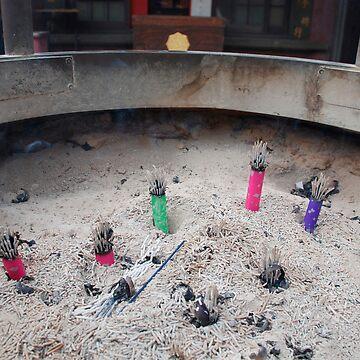 Incense Burner Outside Tokyo Temple  by jojobob