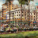 City - San Diego CA - A busy street corner 1941 by Michael Savad