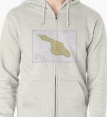 cd91c91abf88 Vintage Map of Santa Catalina Island CA (1977) Zipped Hoodie