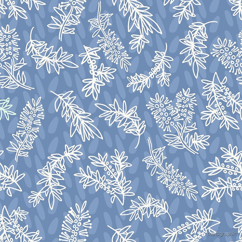 Blue and white chintz look pattern with aussie bottlebrush by thatsgraphic