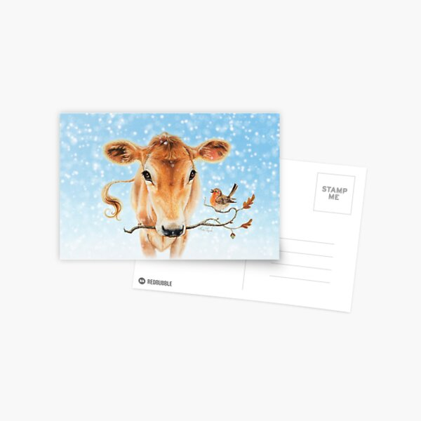 Christmas cow by Maria Tiqwah Postcard