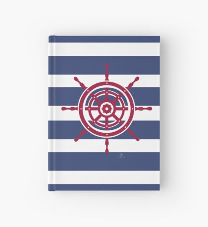AFE Nautical Red Helm Wheel Hardcover Journal