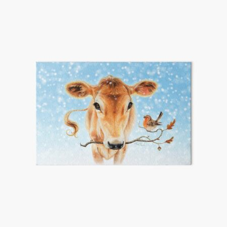 Christmas cow by Maria Tiqwah Art Board Print