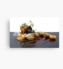 black pudding, bacon and quails eggs Canvas Print