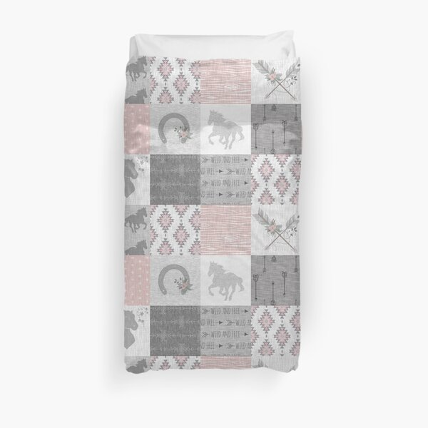 BoHo Horse Patchwork in pink and grey Duvet Cover