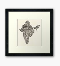 Lettering map of India Framed Print