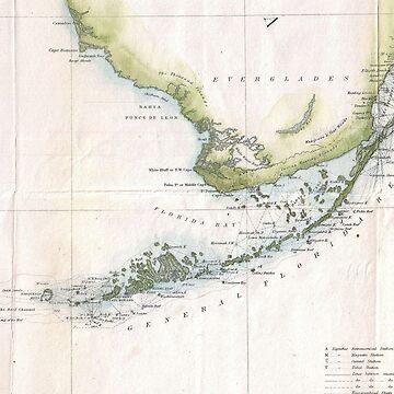 Vintage Map of The Florida Keys (1852) by BravuraMedia