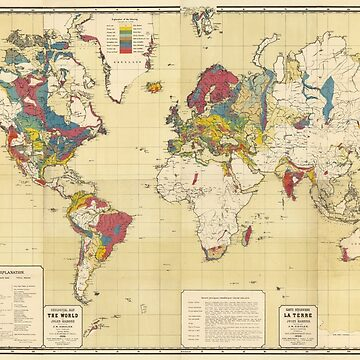 Vintage Geological Map of The World (1875) by BravuraMedia