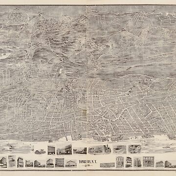 Vintage Map of Yonkers NY (1899) by BravuraMedia