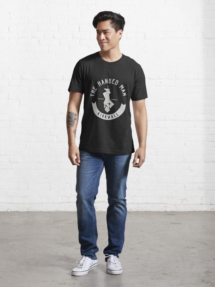 Alternate view of The Hanged Man Pub Logo   Dragon Age 2   White Logo Essential T-Shirt