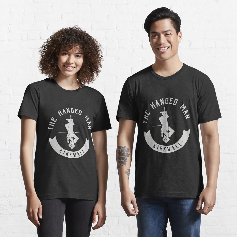 The Hanged Man Pub Logo   Dragon Age 2   White Logo Essential T-Shirt