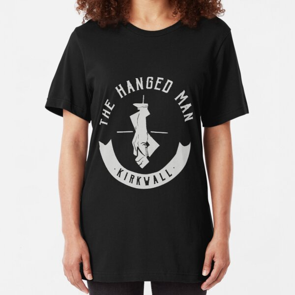 The Hanged Man Pub Logo | Dragon Age 2 | White Logo Slim Fit T-Shirt