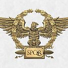 Gold Roman Imperial Eagle - SPQR Special Edition over White Leather by Serge Averbukh