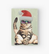 Distressed Funny vintage photo cat wearing a Christmas hat Hardcover Journal