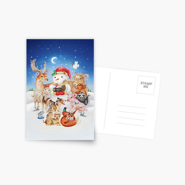 20 Christmas animals by Maria Tiqwah Postcard