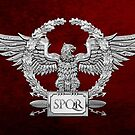 Silver Roman Imperial Eagle - SPQR Special Edition over Red Velvet by Serge Averbukh