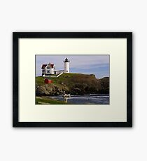 Sit and Enjoy the Beauty of Nubble Lighthouse Framed Print