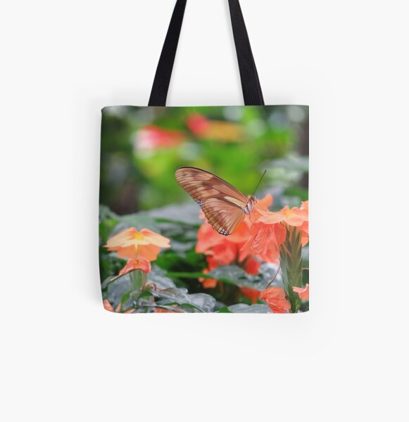 Orange Butterfly All Over Print Tote Bag