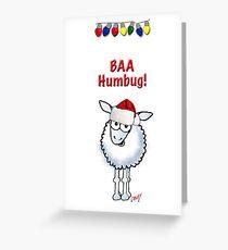 """Cartoon Christmas sheep """"BAA Humbug"""" Greeting Card"""