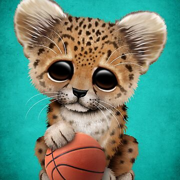 Leopard Cub Playing With Basketball by JeffBartels