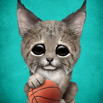 Lynx Cub Playing With Basketball by JeffBartels