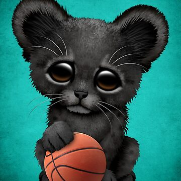 Black Panther Cub Playing With Basketball by JeffBartels
