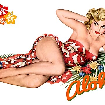 Aloha Island Blonde Pinup Girl by headpossum