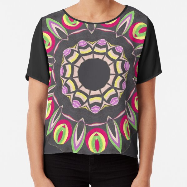 Black Red and Contrast Spinner Fall Into Winter Design from GreenBeeMee Chiffon Top