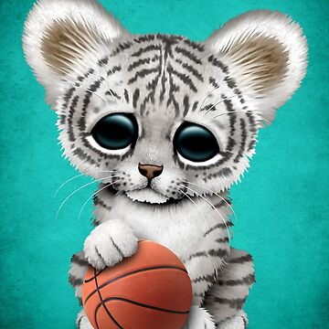 White Tiger Cub Playing With Basketball by JeffBartels