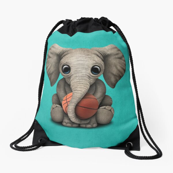 Baby Elephant Playing With Basketball Drawstring Bag
