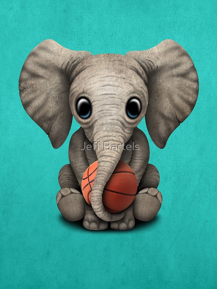 Baby Elephant Playing With Basketball by JeffBartels