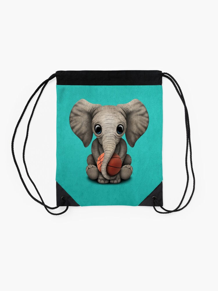 Alternate view of Baby Elephant Playing With Basketball Drawstring Bag