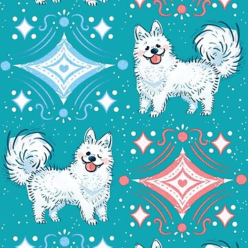 Winter Samoyed in Teal by Paigekotalik