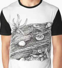 Mushroom and Log - Sketch by Laura Jaen Graphic T-Shirt