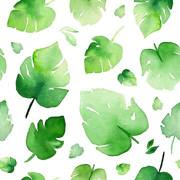fresh green watercolor leaves  by headpossum