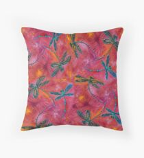 Dragonfly Dance Hot Fuchsia Throw Pillow